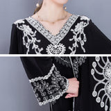 Women A Line Floral Embroidery Long Sleeve Cotton Linen Dress
