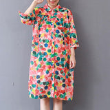 Women Loose Cotton Linen Polo Neck Dot Print Dress Pleated Long Shirt
