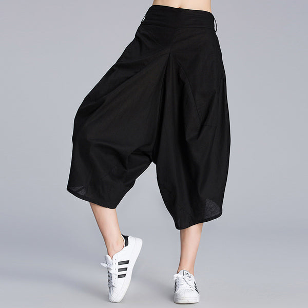 Women Harem Pants Splice Loose Cotton Linen Pants With Pocket