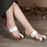 Woman Casual Handmade Slippers Genuine Leather Wedges Shoes Slip-on Sandals