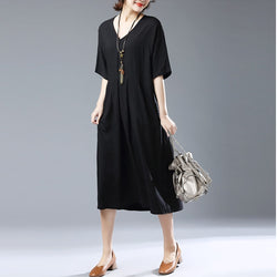 Casual Loose Plus Size Short Sleeve V Neck Cotton Linen Dress Black