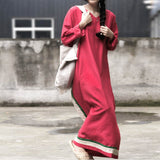 Casual Loose Ramie V Neck Hit Color Splice Long Dress