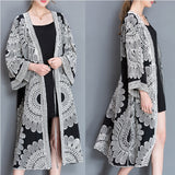 Women Loose Cotton Floral Embroidery Lace Up V Neck Long Coat
