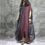 Women Silk Cotton Linen Irregular Two Pieces Dress Grid Geometric Print Splice Dress