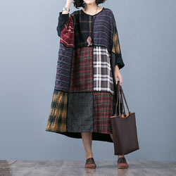 Cotton Linen Long Sleeve Splice Loose Dress