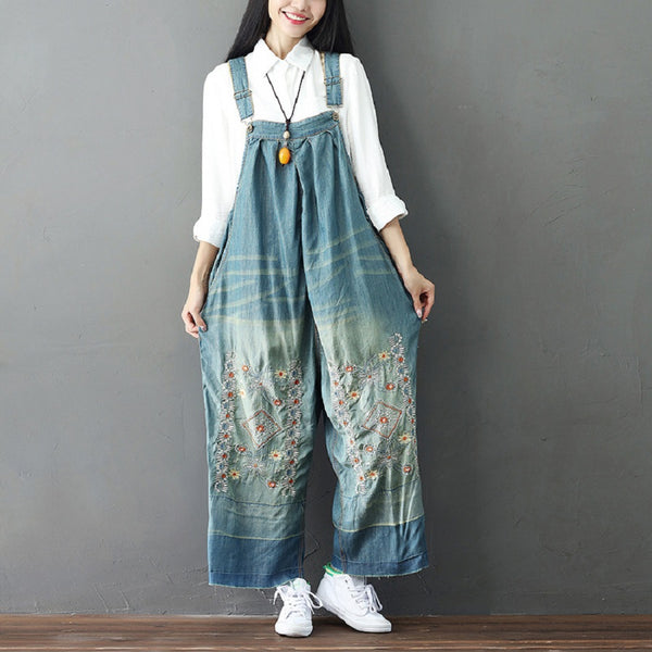 Casual Loose Jumpsuit Reto Embroidery Denim Jean