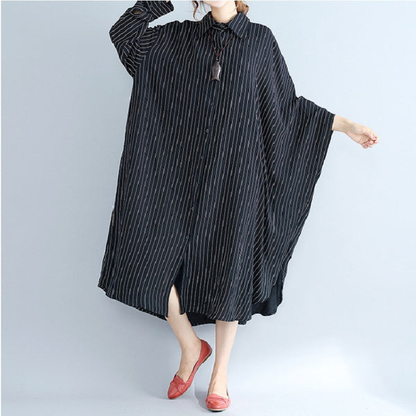 Women Casual Loose Vertical Stripe Dress Irregular Bottom Bat Sleeve Long Shirt