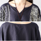 Women Casual Loose Bat Sleeve Shirt Printing Blouse Side Slit