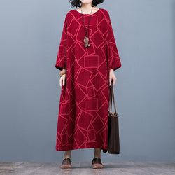 Linen Three Quarter Sleeve Geometry Pattern Loose Dress