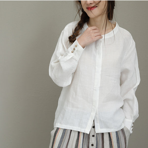 2018 Spring Summer Casual Ramie Shirt Long Sleeve Button Blouse Stand Collar