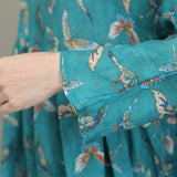 Woman Retro Casual Ramie Butterfly Print Pleat Dress With Cloth Button