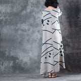 Women Casual Loose Dot Printing Side Slit Waist String Maxi Dress