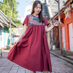 Casual Printed Plus Size Short Sleeve Cotton Linen Dress