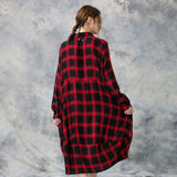 Loose Cotton Linen Plaid Long Sleeve Turn Down Collar Shirt Dress