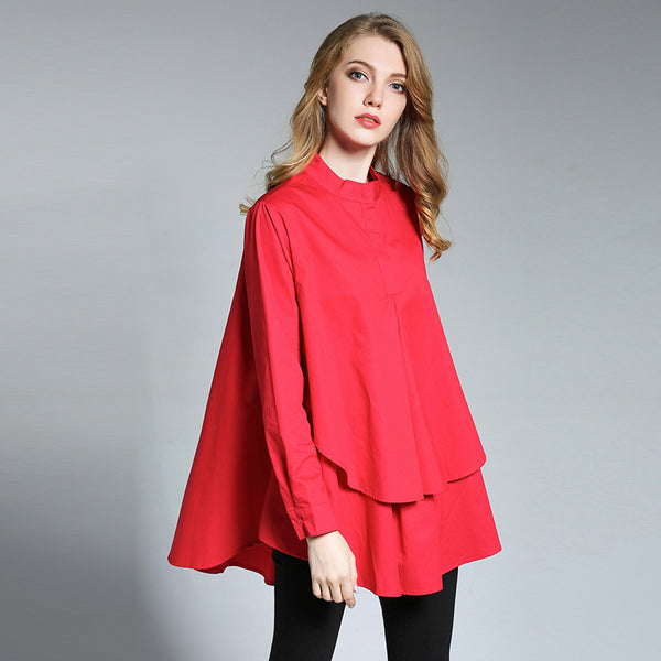 Woman Casual Loose Cotton Button Placket Blouse Ruffle Bottom Shirt