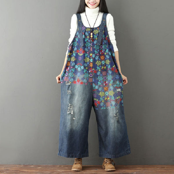 Casual Loose Jumpsuit Reto Printed Denim Jean Frayed Hole