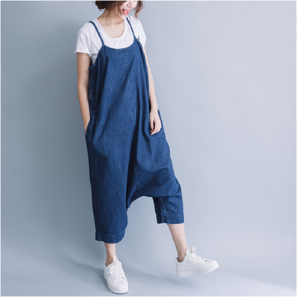 Casual Loose Jumpsuit Button Side Open Bottom Denim Jean