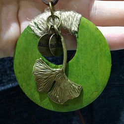 Ethnic Metal Ginkgo Leaf Retro Round Wood Pendant Necklace Leather Chain