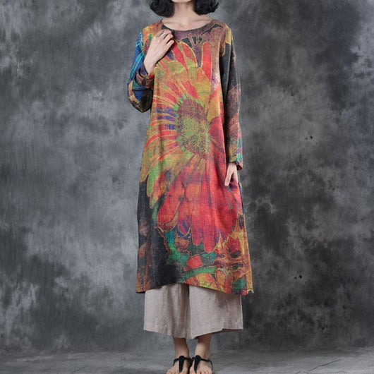 Woman Retro Loose Ramie Long Sleeve Printing Dress