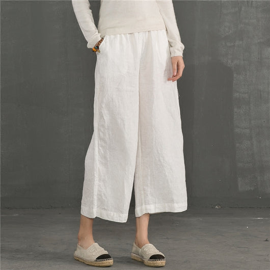 Women Casual Loose Pant High Waist Drawstring Elastic Side Pocket Pants