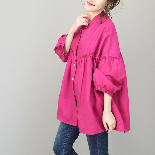 Woman Casual Loose Linen Stringy Selvedge Plus Size Blouse Baby-Doll Shirt