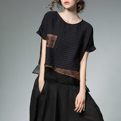 Women Splice False Two-Piece Blouse Loose Silk Linen Organza Tee Shirt Irregular Bottom