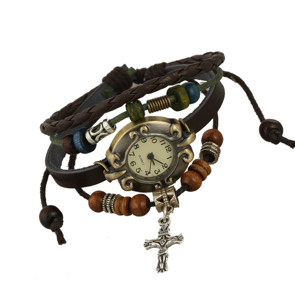 Retro Genuine cow Leather Woven Charm Bracelet Watch