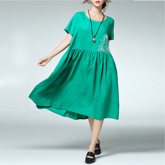 Women Casual Loose Cotton Linen Embroidery Pleats Dress Round Neck