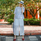 Women Casual Loose Lace Wide Leg Ninth Pants