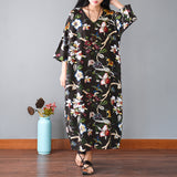 Summer Casual Loose Cotton Linen Retro Printing V Neck Plus Size Dress Red