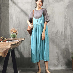 Loose Sleeveless Cotton Linen Slip Dress