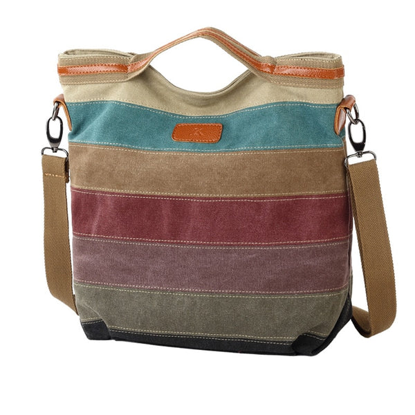 Woman Casual Splicing Canvas Shoulder Bag Contrast Color bag Rainbow Dumpling Handbag