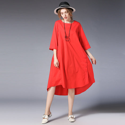 Woman Casual Loose Cotton Side Split Button Dress Irregular Bottom