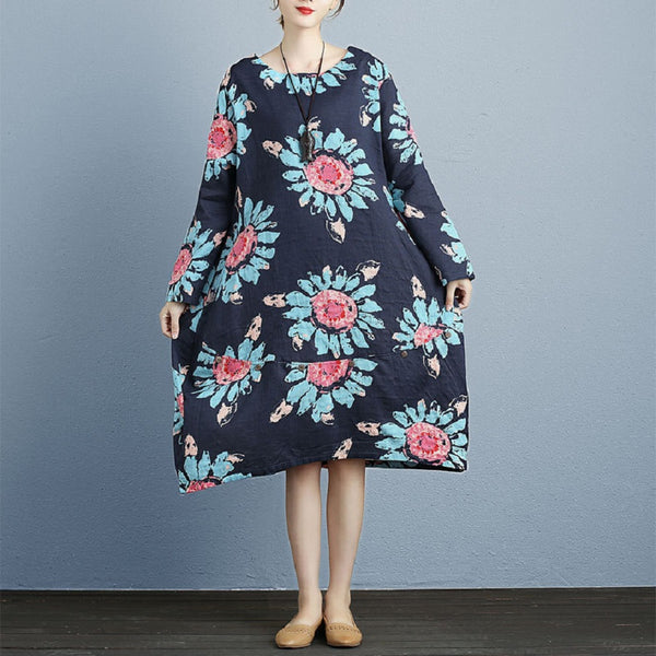 Cotton Linen Long Sleeve Flower Print Loose Dress
