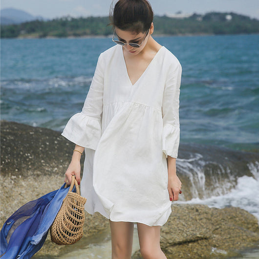 Summer Casual V-neck Trumpet Sleeve Linen Skirt Pleats Blouse Open Back