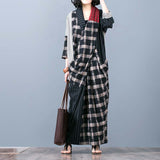 Alneed Casual Loose Cotton Linen Splice Long Sleeve Plus Size Dress