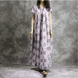 Women Casual Plus Size Pleats Cotton Linen Maxi Dress Dot Printing Beige