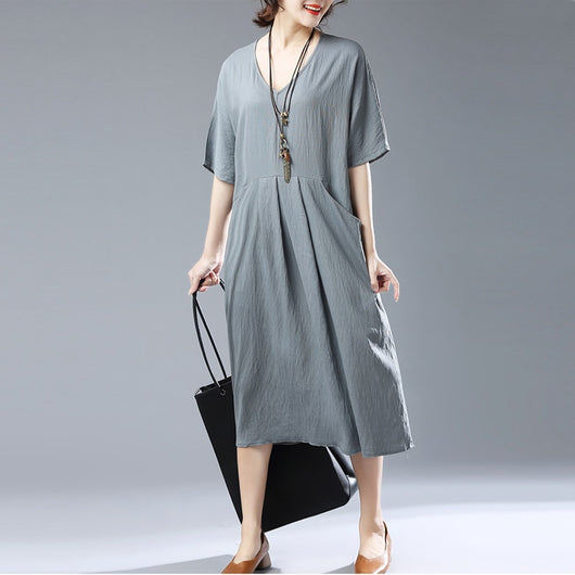 Casual Loose Plus Size Short Sleeve V Neck Cotton Linen Dress Grey