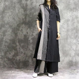 Casual Loose Two Piece Vintage Flax Long Shirt + Splice Loose Pant Side Slit Shirt Dress