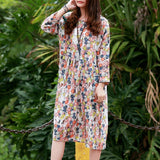 Women Loose Casual Cotton Linen Floral Print Dress Waist Pleated Long Sleeve