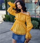 Cotton Lace Blouse Yellow Tank Off Shoulder Lantern Sleeve