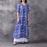Women Causal Printing Flax V Neck Plus Size Dress Splice Button Ethnic Pullover