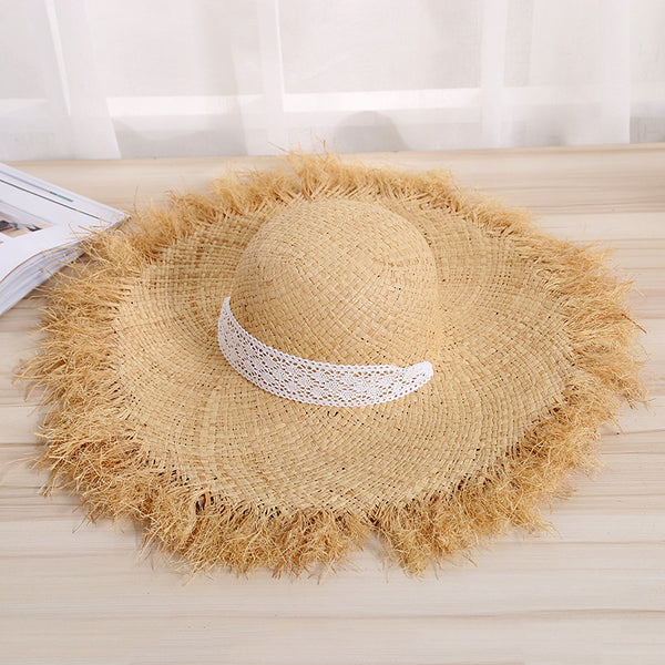 Women Casual Retro Straw Hat Raw Edge Lace Up Wide-Brim Beach Hat