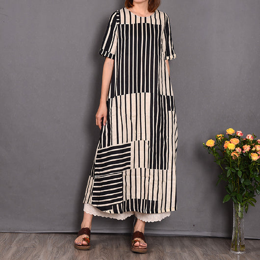 Women Loose Casual Ramie Stripes Maxi Dress Splicing Round Neck Pullover