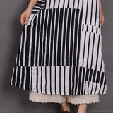 Women Loose Casual Ramie Stripes Maxi Dress Splice Round Neck Pullover