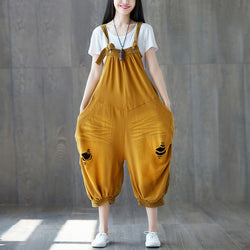 Women Cotton Loose Ripped Jeans Splice overalls Pleats Pockets Jumpsuit Yellow