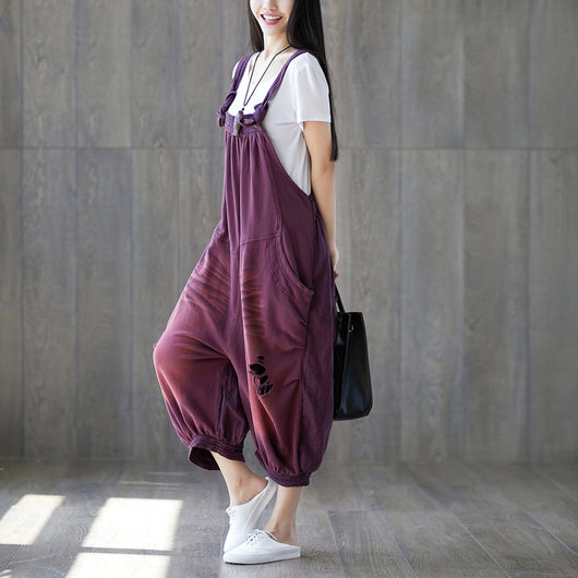 Women Cotton Loose Splice overalls Pleats Pockets Jumpsuit Frayed hole Denim Pant Purple