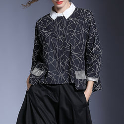 Woman Loose Plus Size Blouse Square Neck Pleat Irregular Print Shirt