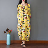 Summer Casual Loose Cotton Linen Retro Printing V Neck Plus Size Dress Yellow