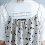 Woman Loose Casual Cotton Linen Shoulder Straps Pigeon Print Haren Jumpsuit